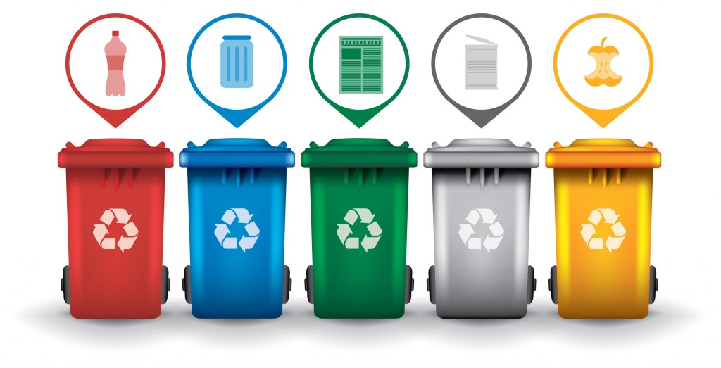 42061753 - colorful recycle trash bins with garbage icons, vector set