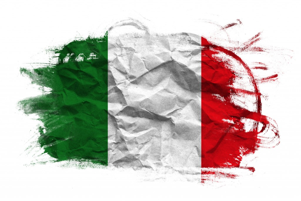 23805176 - italy flag on crumpled paper texture old recycled