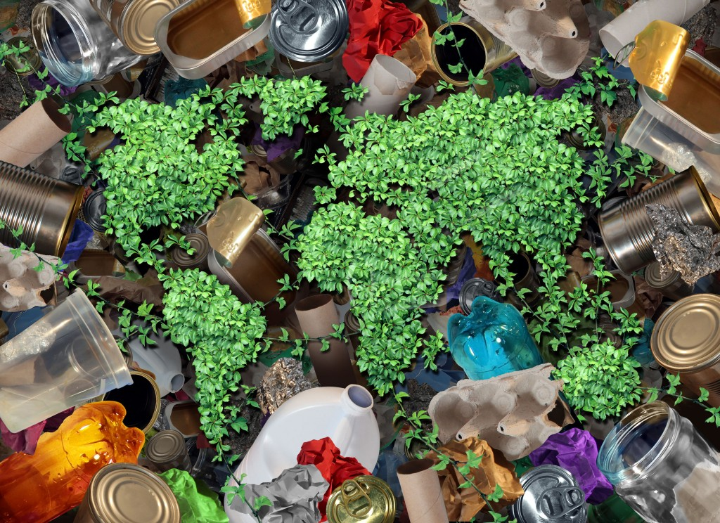 49949637 - recycle global rubbish for the environment and garbage concept or recycling waste management icon with old paper glass metal and plastic household products to be reused helping with nature conservation for saving energy and money.