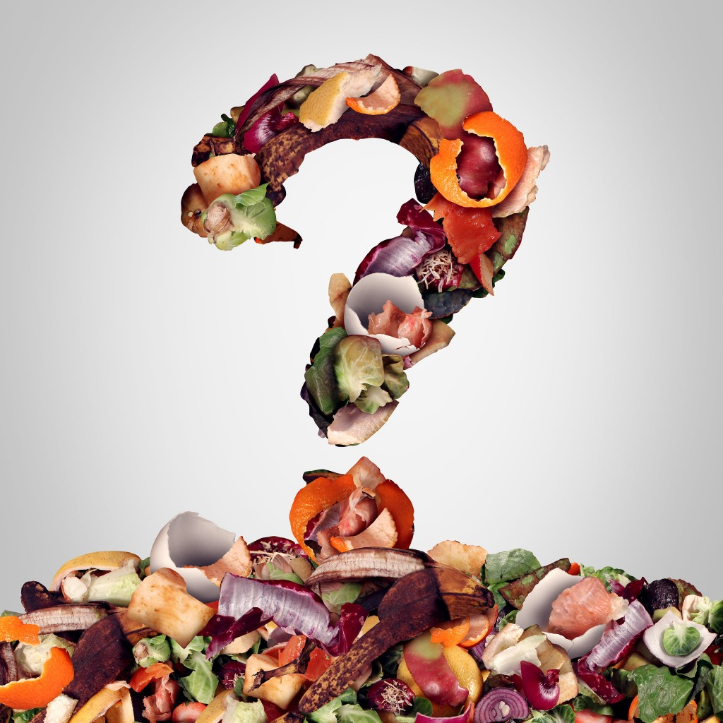 44492835 - composting questions as a compost pile of rotting kitchen fruits egg shells and vegetable food scraps shaped as a question mark as a banana peel orange and onion garbage waste for recycling as an environmentally responsible that enriches soil in a garden.