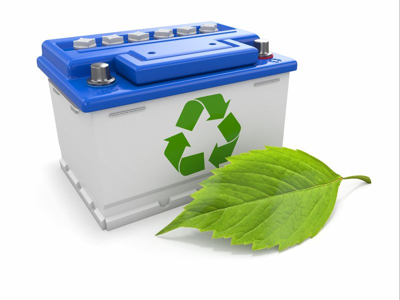15649706 - car battery with green recycle sign  3d