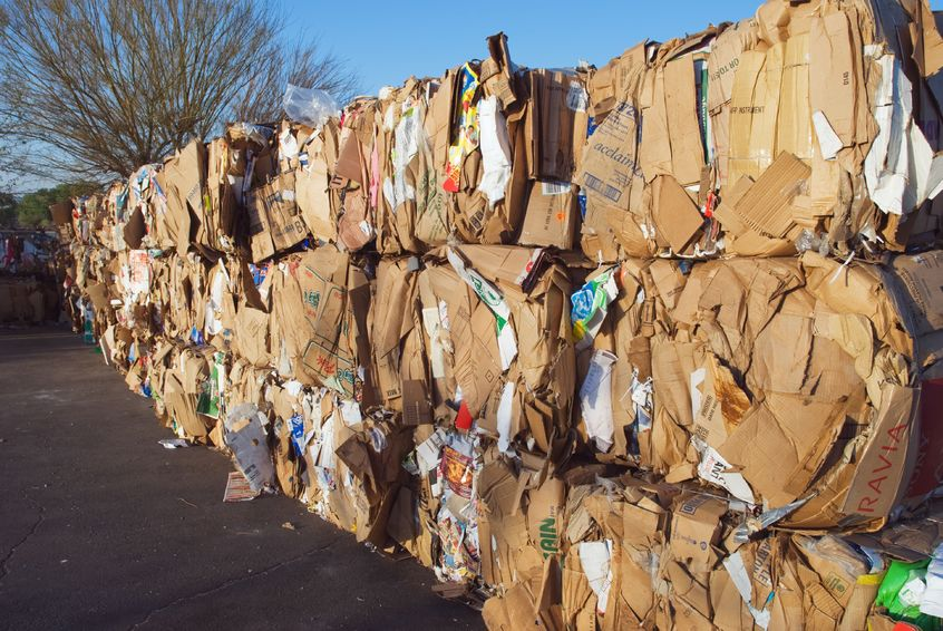 3066111 - cardboard pressed in to bales for later recycling