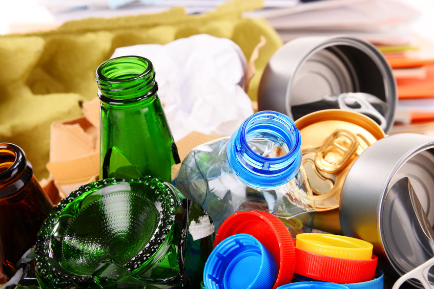 39146028 - recyclable garbage consisting of glass, plastic, metal and paper