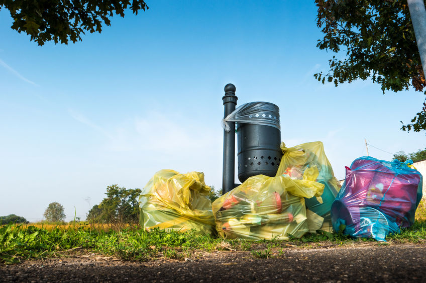 87705416 - abandoned garbage bags near the lawn