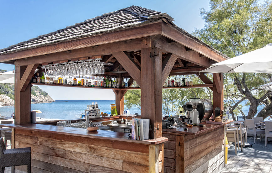 snack bar on the beach, in summer