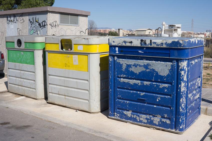 Old Recycle Bins in a Urban Neighborhood.